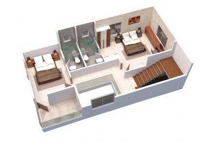 East facing villa First floor 3D View
