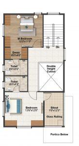 East facing villa First floor plan