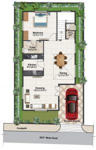 East facing villa Ground floor plan