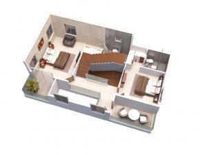 North facing villa First floor 3D View