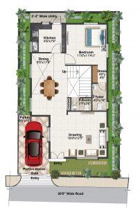 North facing villa Ground floor plan