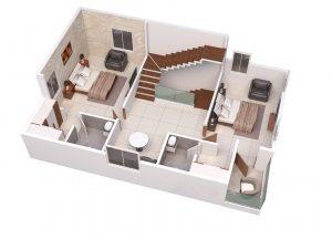 West facing villa First floor 3D View