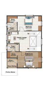 West facing villa First floor plan