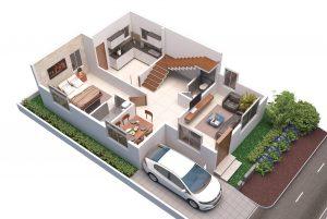West facing villa Ground floor 3D View