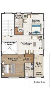 south facing villa First floor plan